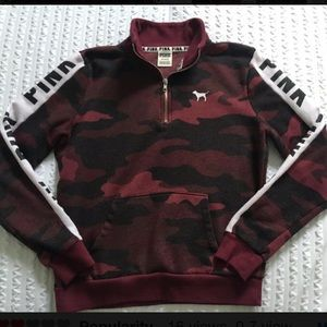 VSPINK RED CAMO PERFECT 1/4 ZIP PULLOVER NWT MED💞